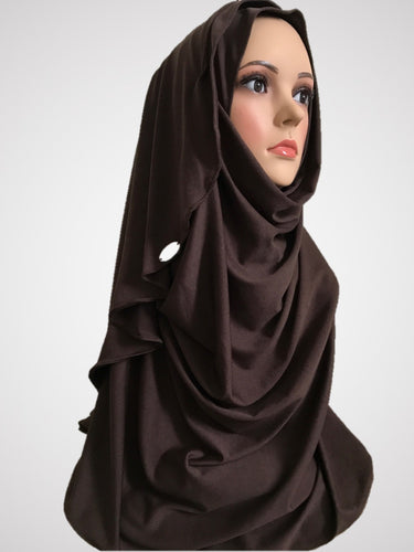 Coffee brown stretchy (COM) instant hijab CF