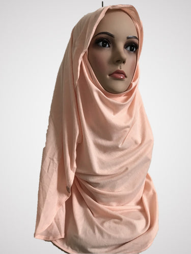 Apricot stretchy (COT) instant hijab CF