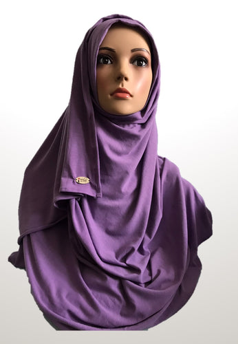 French lilac stretchy (COT) instant hijab SF
