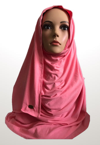 Coral pink stretchy (COT) instant hijab SF