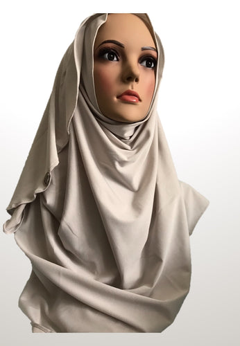 Eggshell off white stretchy (COM) instant hijab CF