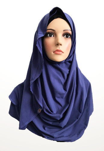 Imperial blue stretchy (KOR) instant hijab CF