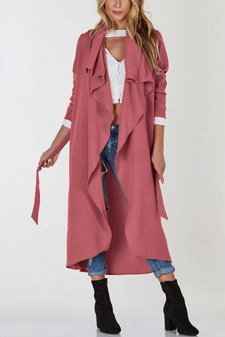 Lightweight Open Front Buttonless Longline Trench Coat