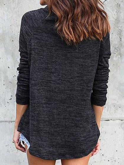 Casual Basic Turtleneck Solid Color Loose Pullover Top