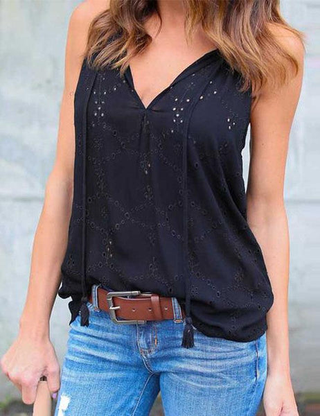 Casual Sleeveless Blouse Embroidery T Shirt