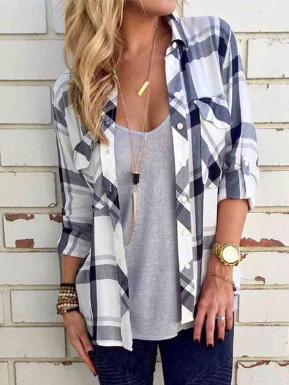 Plaid Chest Pocket Long Sleeve Shirt