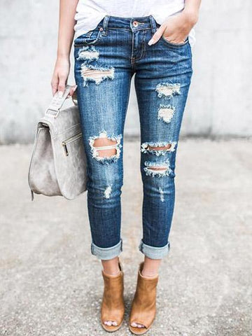 Relaxed Blue Destroyed Denim Jeans