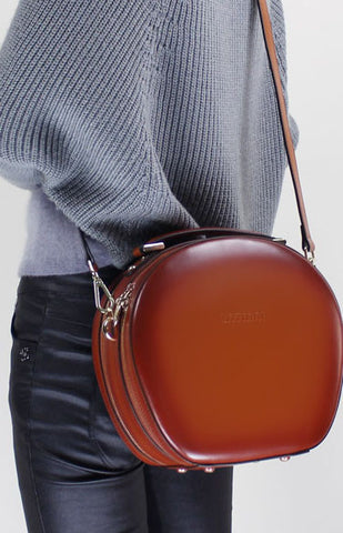 Handmade Leather handbag shoulder bag brown black for women leather crossbody bag