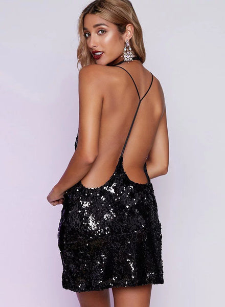 Hot Spaghetti Strap Deep V Neck Sequin Dress