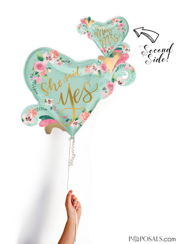 2-Sided Mint and Gold Heart 'She said Yes' and Miss Mrs'  Pink Watercolor Flower 32