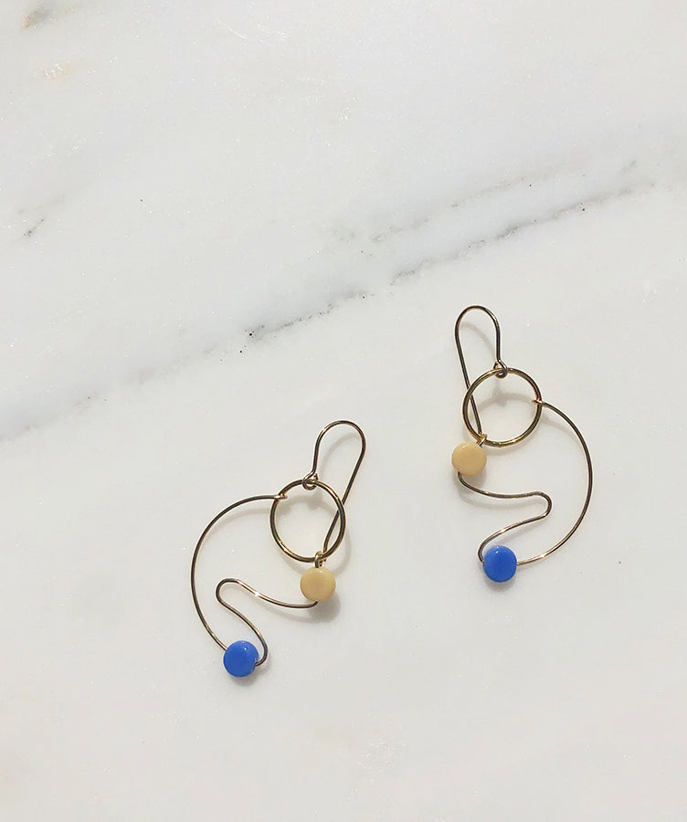 I. Ronni Kappos Blue and Cream Picasso Hoop Earrings