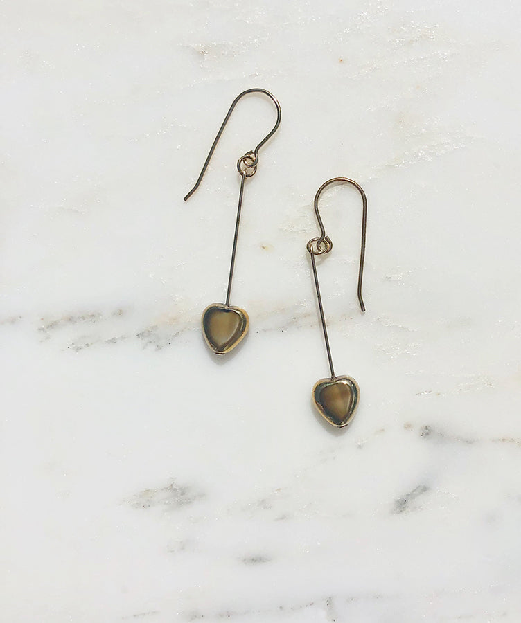 I. Ronni Kappos Swirled Beige Heart Earrings
