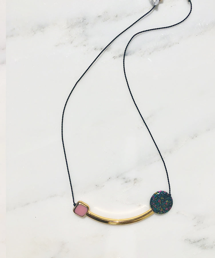 I. Ronni Kappos Pink Square and Swirled Disk w/ Gold Arc Necklace