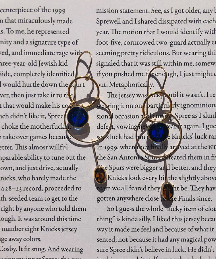 Ronni Kappos Blue and Amber Glass Earrings
