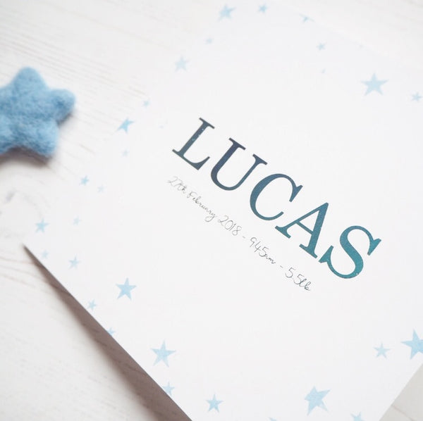 Blue Star Personalised Card