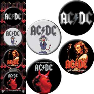 AC/DC - Angus Logo - Pinback Button Badge Set