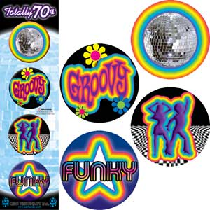 70's Theme - Pinback Button Badge Set