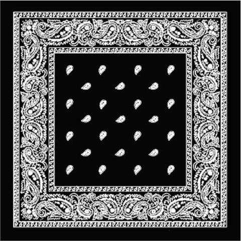 Bandana - Black Paisley Design - Licensed New