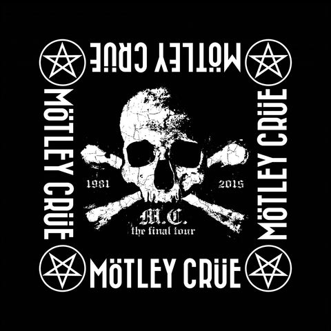 Motley Crue - Bandana - Skull Crossbones - UK Import - Licensed New