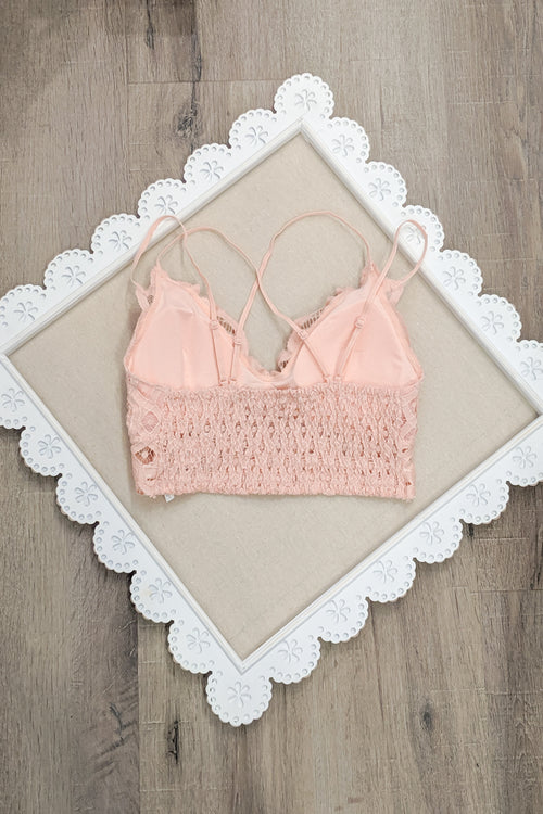 Crochet Lace Bralette - Mellow Rose