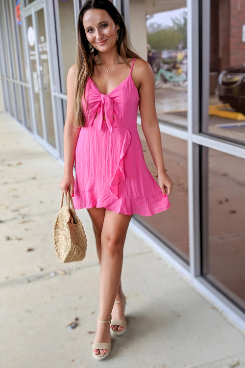 Ruffled & Ready Wrap Dress - Fuchsia