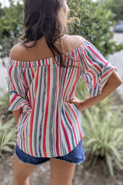 Striped in Candy Off Shoulder Top - Hot Pink