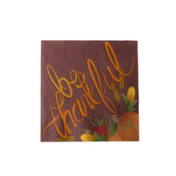 "Thanksgiving Beverage Napkins with ""Be Thankful"" theme"