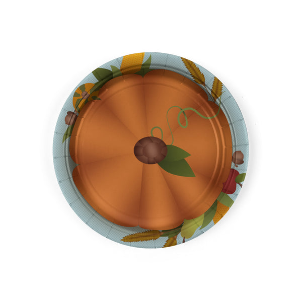 Thanksgiving Dessert Plates with Pumpkin