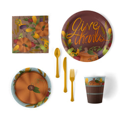 Give Thanks Thanksgiving Party Pack with Plates, Napkins, Cups and Flatware