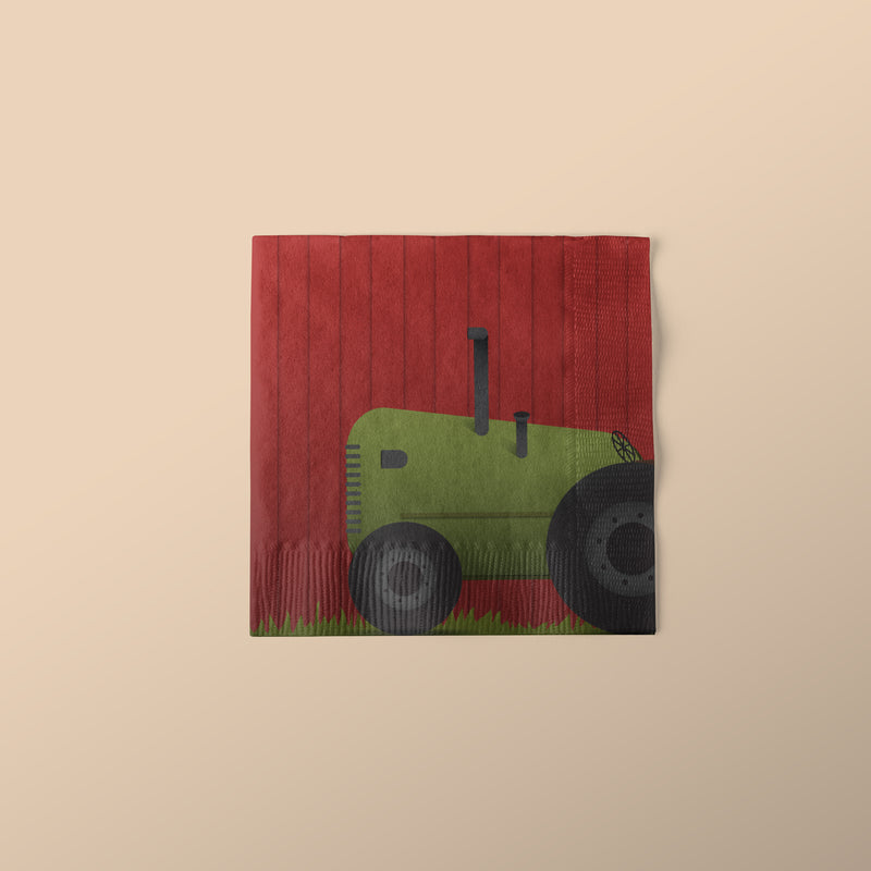 Beverage Sized Farm Themed Party Napkins with Tractor