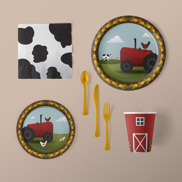 Farm Party Pack with Farm Themed Plates, Napkins, Flatware and Cups
