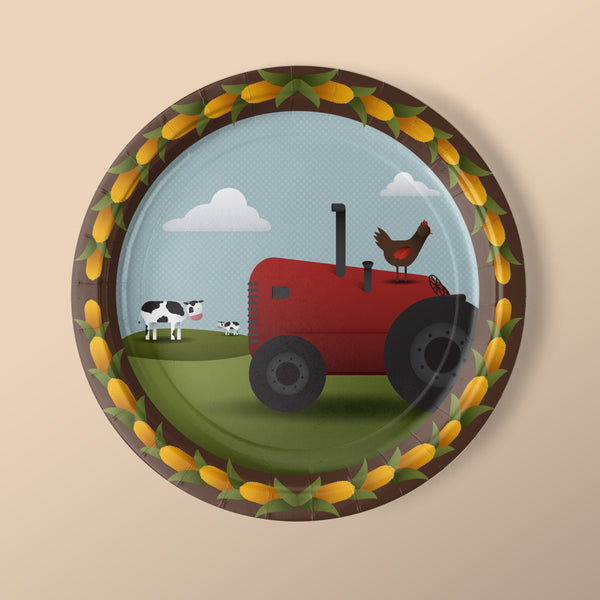 Luncheon Sized Farm Party Themed Plates with Tractor and Chickens