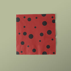 Red with Black Polka Dots Lady Bug Party Luncheon Napkins