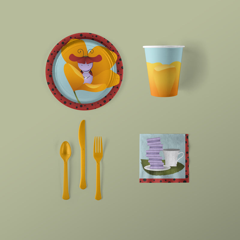 Lady Bug Party Small Pack Plates, Napkins, Flatware and Cups