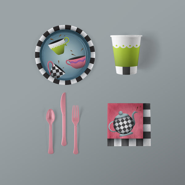 Tea Party Themed Small Pack with Plates, Napkins, Flatware and Cups