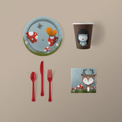 Woodland Creature Party Small Pack with Plates, Napkins, Flatware and Cups