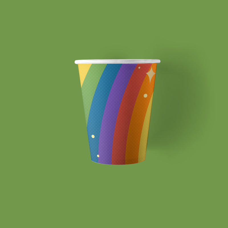 9 ounce Unicorn Party Paper Cups with rainbow theme