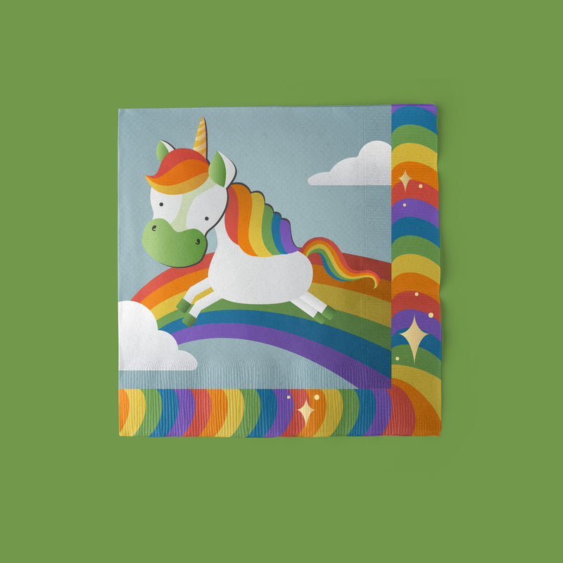 Unicorn Party Luncheon Napkins with rainbow theme