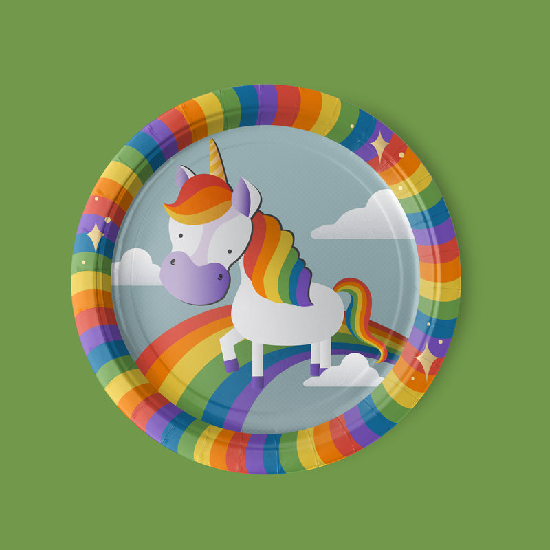 Unicorn Party Luncheon Plates with rainbow theme