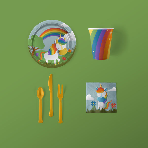 Unicorn Party Small Pack with Plates, Napkins, Flatware and Cups