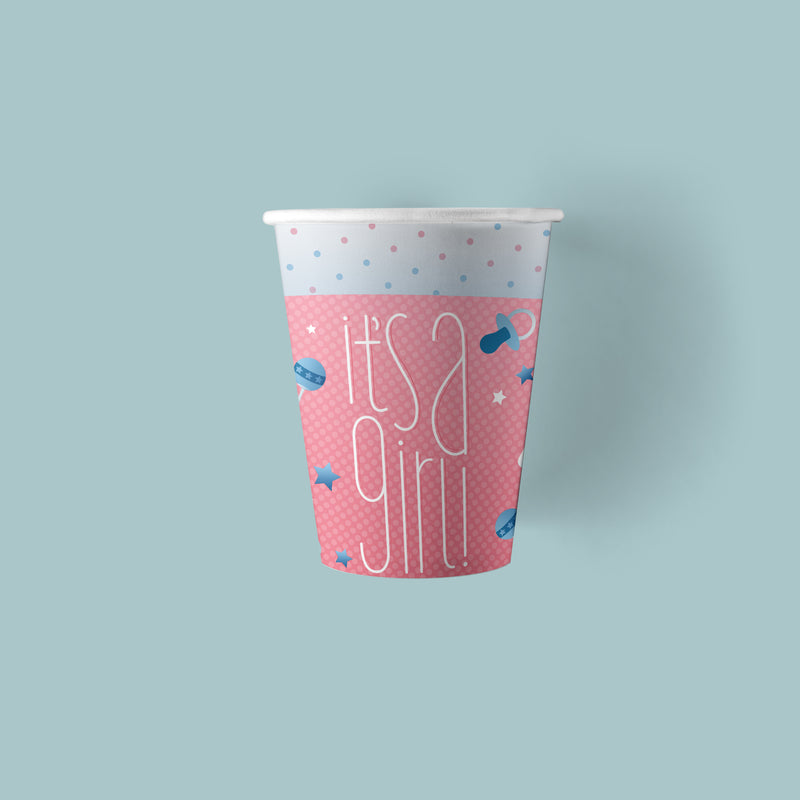 9 ounce It's a Girl Gender Reveal Party Paper Cups