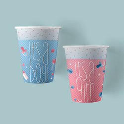 9 ounce Boy or Girl Gender Reveal Party Paper Cups