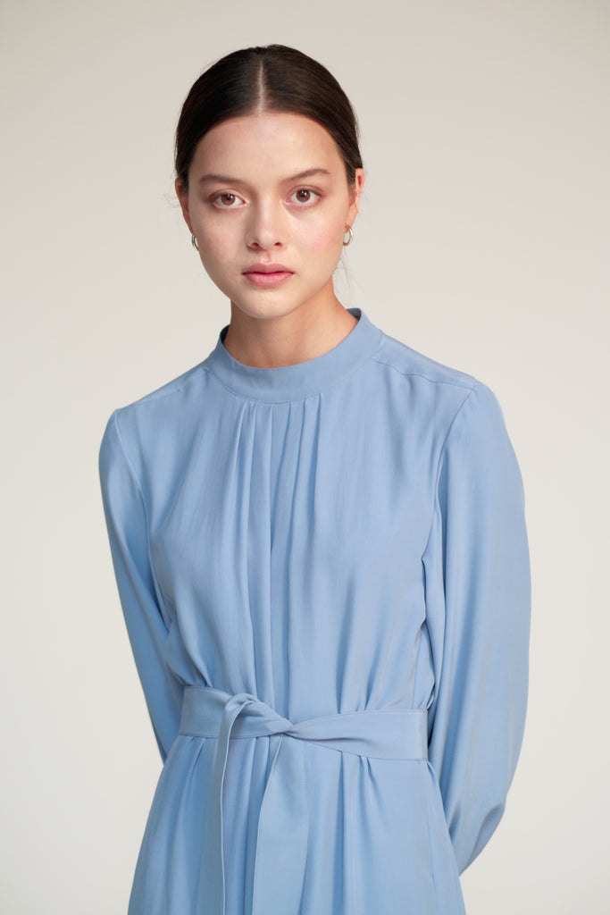 Silk Pleated-Neck Dress in Dusk Blue