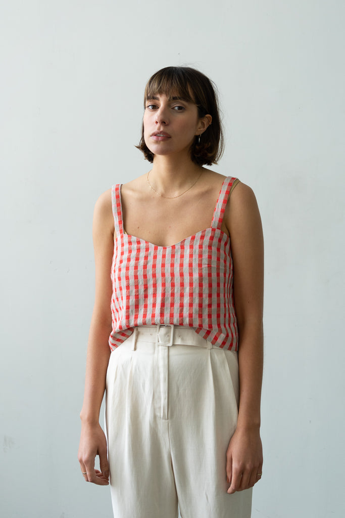 Wave Camisole in Poppy Check