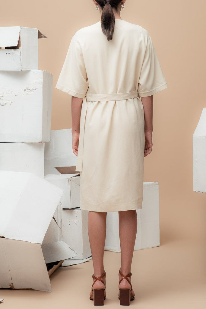 Wrap Dress in Almond