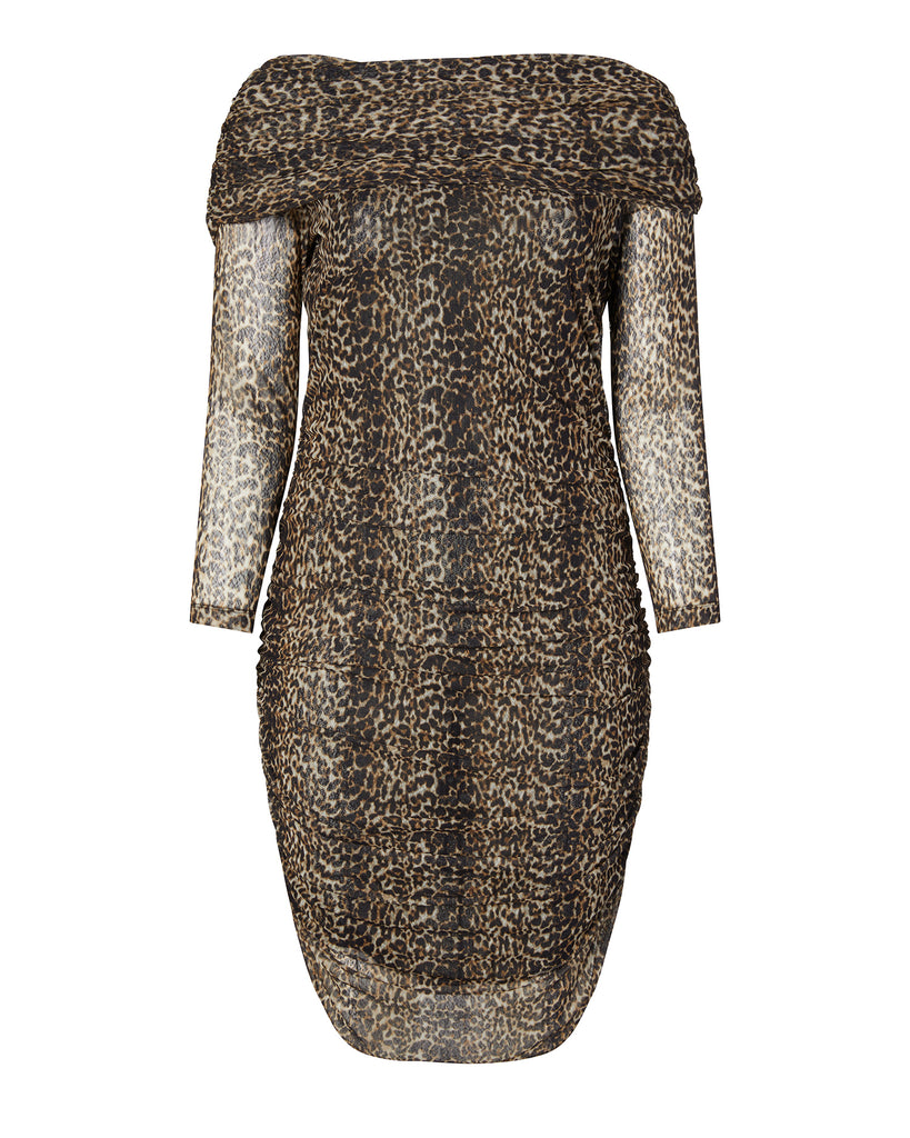 Cheetah Mesh Off-the-Shoulder Long Sleeve Dress