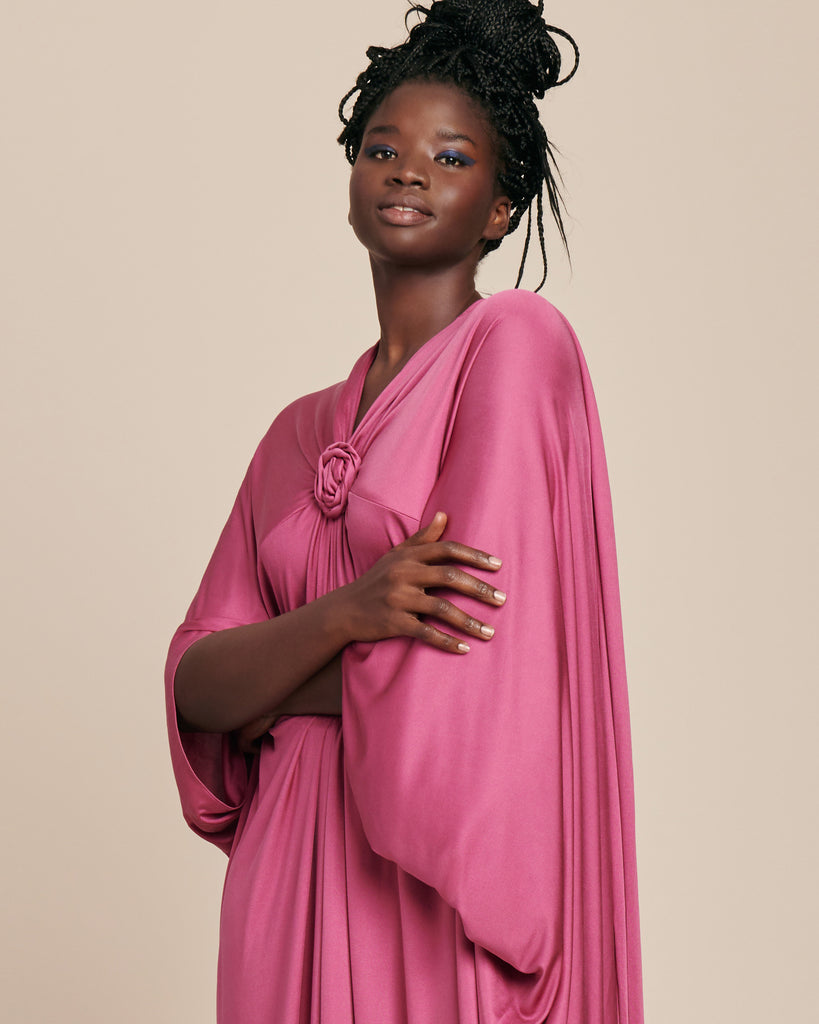 Draped Silk Jersey Kaftan