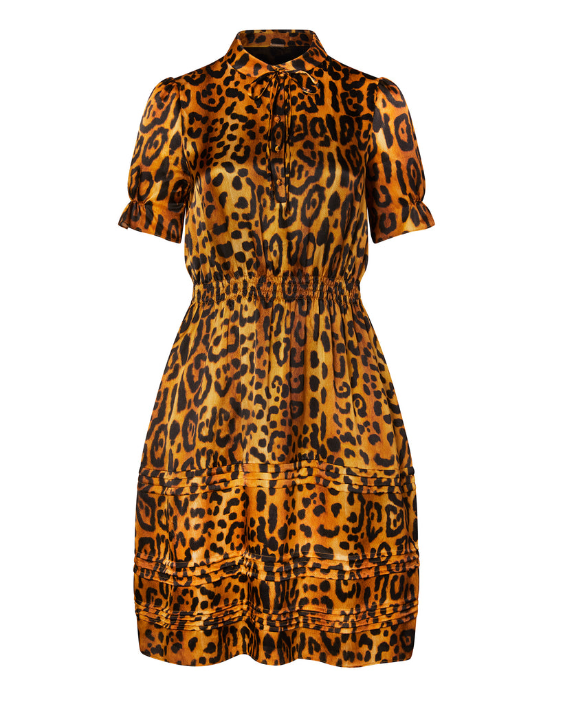 Printed Hammered Silk Rouched Sleeve Dress