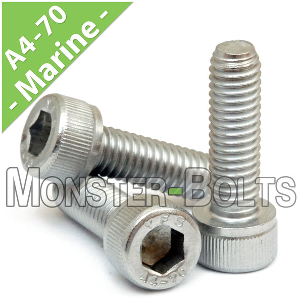 M8 x 1.25 - Marine Grade Stainless Steel Socket Head Cap screws, A4 (316) DIN 912 / ISO 4762