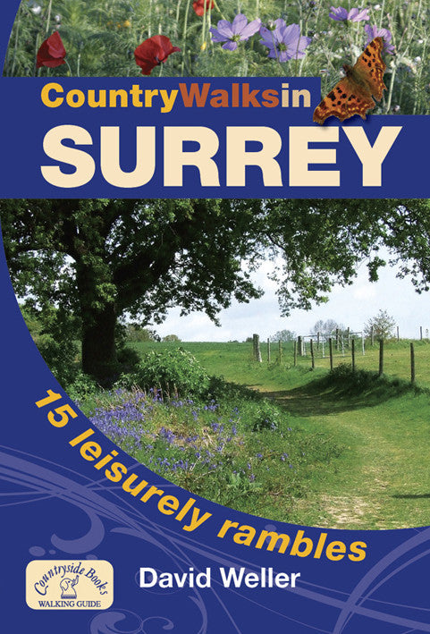 Country Walks in Surrey book cover. Family walks in beautiful Surrey countryside. Circular routes include Puttenham Common, Runnymede, Wey Navigation and National Trust woodland of the High Chart.